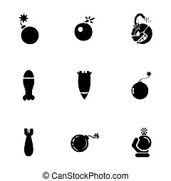 Vector bomb icon set on white background