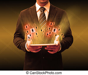 businessman using touch pad