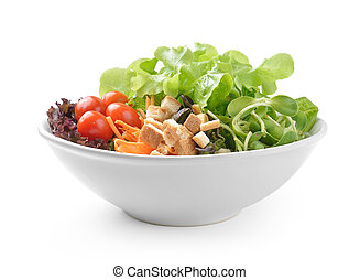salad in plate isolated on white background