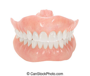 Dentures - Set of dentures with bright teeth isolated on...