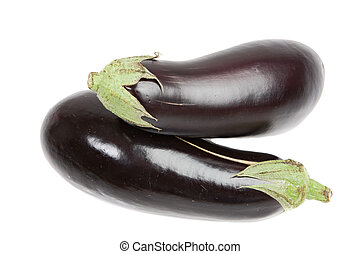 Two aubergine on a over white background
