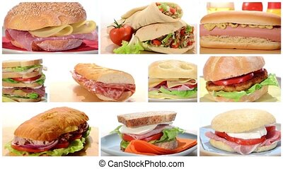 diverse sandwiches rotating - assorted sandwiches, edited