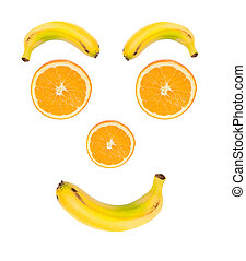 Happy face of fruits on a over white background