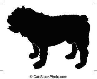 english bulldog - silhouette of english bulldog