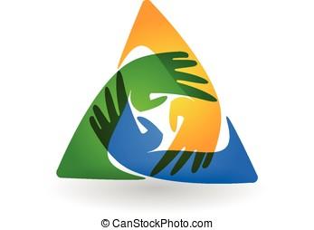 Trabalho equipe, mãos, charityl, logotipo,