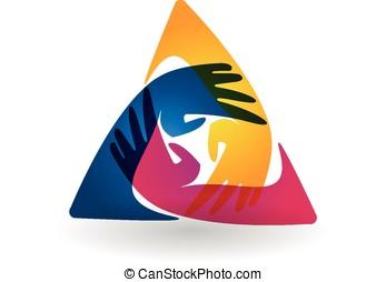 logotipo, Trabalho equipe, voluntário, mãos