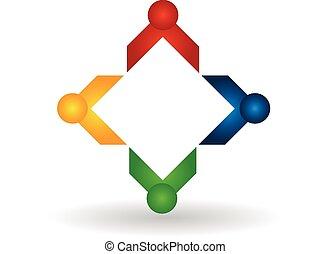 logotipo, Trabalho equipe, negócio, pessoas
