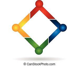 Trabalho equipe, pessoas, negócio, logotipo,