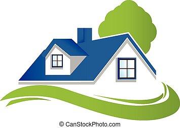 casa, con, árbol, logotipo,