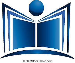 Book illustration logo - Book illustration blue figure icon...