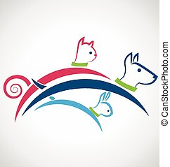 Cat dog and rabbit silhouettes logo - Cute cat dog and...
