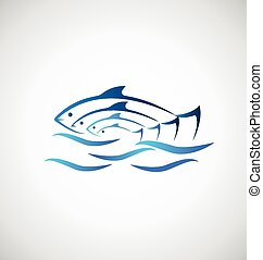 Fish on sea background logo - Colored fish and sea identity...