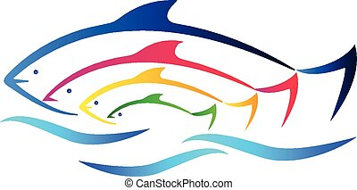 Fish on beach logo vector - Colored fish and sea identity...