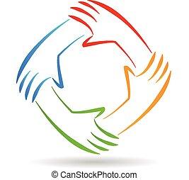 Trabalho equipe, unidade, mãos, logotipo,