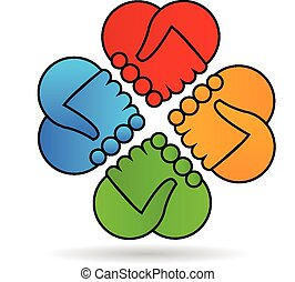 Hands of love. Charity people logo - Group of hearts...