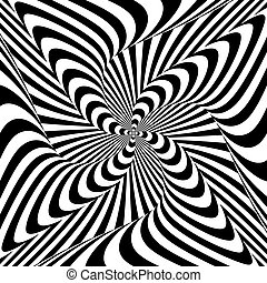 Design monochrome whirlpool motion illusion background