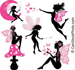 Set of silhouette fairy girls with butterflies and stars isolate