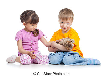 two kidsplaying with kitten