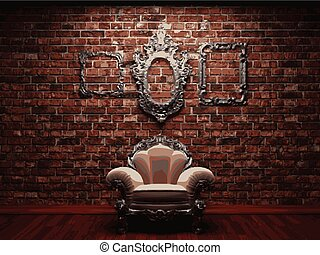 vector chair on brick background