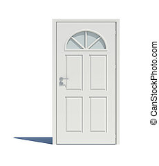 Closed white door with shadow. Isoted on white background