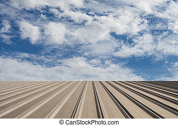 Perspective view of aluminium roof and sky with clound