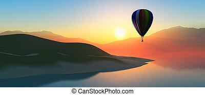 Hot air balloon at sunset - 3D render of a hot air ballon...