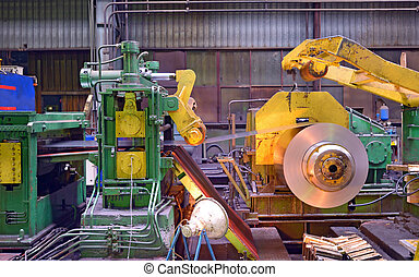 steel coil processing machine inside of steel  plant