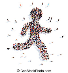 people in the form of a running man - Large group of people...