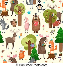 Happy forest animals seamless pattern background. Deer and...
