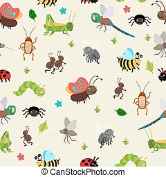 Bugs and Beetles seamless background - Seamless background...