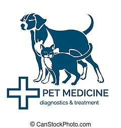 Pet clinic logo. Cat, dog, diagnostics and treatment,...