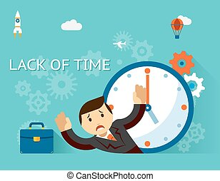 Time management. Lack of time concept. Businessman and...
