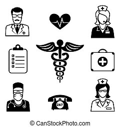 Medical and Health care icons. Rod of Asclepius and symbol,...