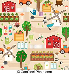 Farm seamless pattern with tractor and beds, apple trees,...