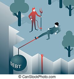 Debt takes off man over a cliff Load pulls into the abyss...