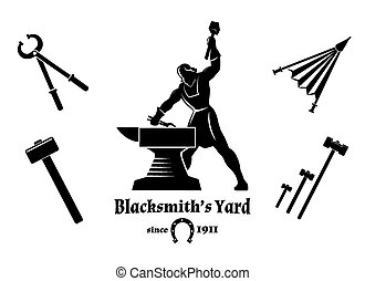 Vintage blacksmith. Hammer and tongs, anvil and craft, logo...