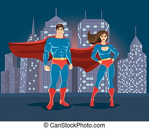 Superheroes on urban landscape backgound Superman and...