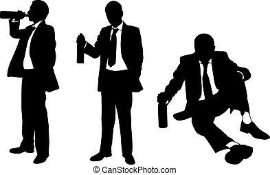 bêbado, homens,
