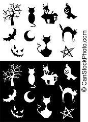 Halloween silhouettes set, element for design, on white and...