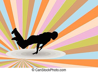 breakdance with background - illustration of breakdance with...
