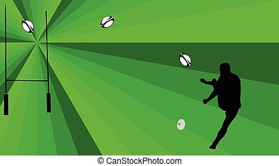 rugby player with background - vect
