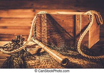 mar, viajar, concepto, en, de madera, interior, ,