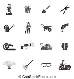 Lawn Man Icon Set - Lawn man farm worker with grass cutting...