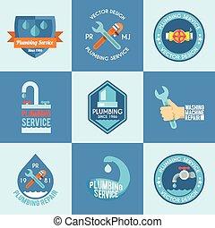 Plumbing labels icons set - Plumbing service washing machine...