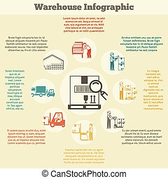 Warehouse Infographics Set - Warehouse infographics set with...