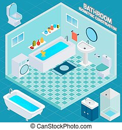 Isometric Bathroom Interior - Isometric bathroom and toilet...