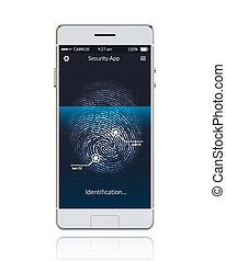 Phone Scanning Fingerprint - Realistic phone with mobile...