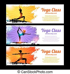 Yoga Banner Set - Yoga class horizontal banner set with...
