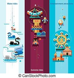 Amusement Park Banners - Amusement park vertical banners set...
