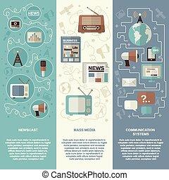 Media Banner Set - Mass media vertical banner set with...